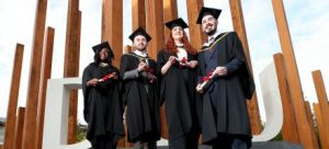 Graduating DCU Access Students 2017 - Zainab Boladale, Andrew Byrne, Hannah Kelly, Jamie Farrell