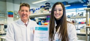 DCU Allergan Innovation Award 2017/18 - Francis Bates presents award to Arabelle Cassedy, a doctoral researcher in DCU's School of Biotechnology