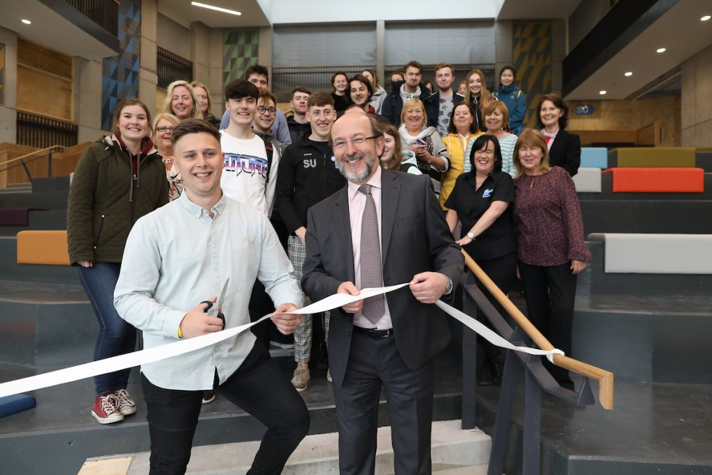 Niall Behan and DCU President, Prof Brian MacCraith are joined by DCU students and staff for a sneak preview of the new DCU Student Centre