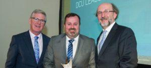 Robert Mulhall accepts DCU Corporate Leadership Award on behalf of AIB