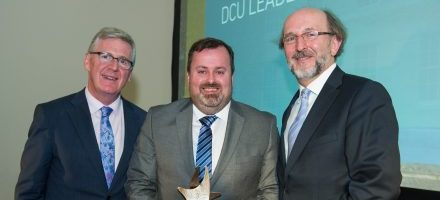 Robert Mulhall accepts DCU Corporate Leadership Award on behalf of AIB