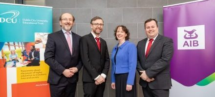 AIB Chair in Data Analytics Inaugural Lecture - Professor Brian MacCraith, President of DCU, AIB Chair in Data Analytics, Professor Tomas Ward and Professor Lisa Looney, Executive Dean, Faculty of Engineering and Computing at DCU and Robert Mulhall, Director of Consumer Banking, AIB.