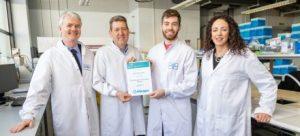 DCU Allergan Innovation Award 2018/19 - L-R: Prof Paul Cahill, DCU; Francis Bates, Allergan; Eoin Corcoran, Allergan Innovation Award Recipient 2018/19; Rachael Dunne, DCU Educational Trust