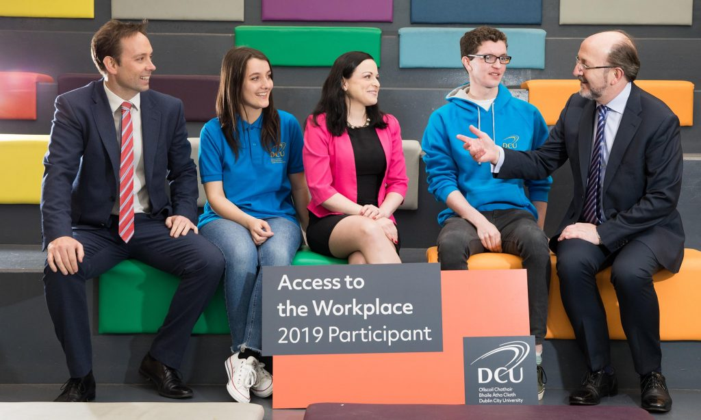 Brian Leonard from PwC and Karena Flynn Thai from Pigsback.com pictured together with Professor Brian MacCraith, President, DCU and DCU Access students Gemma Treacy and Seán McElwain at the launch of DCU's Access to the Workplace Programme in DCU's Glasnevin campus today. The programme will see 30 leading Irish companies provide an internship for up to 45 DCU Access students from socio-economically disadvantaged backgrounds this summer. (L-R) Brian Leonard, PwC, Gemma Treacy, DCU Access student, Karena Flynn Thai, Pigsback.com, Professor Brian MacCraith, President, DCU. ***NO FEE*** Photography: Conor Healy / Picture It Photography
