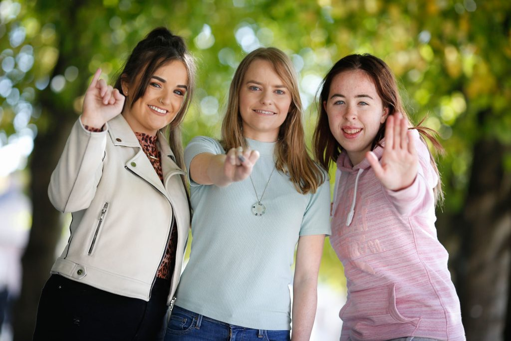 Picture shows l-r, Aimee Ennis McLoughlin (Dublin); Aisling O'Halloran (Galway) and Sinéad Leahy (Cork). Four students who communicate through Irish Sign language (ISL) registered at Dublin City University today to become Ireland's first primary school teachers using Irish Sign Language. The students Kevin Dudley (Dublin), Aimee Ennis McLoughlin (Dublin), Sinéad Leahy (Cork), Aisling O'Halloran (Galway) have been supported with scholarships by Folens and the Catholic Institute for Deaf People and will begin the full-time four-year undergraduate course next week (Monday, September 23rd). JULIEN BEHAL PHOTOGRAPHY. NO FEE.