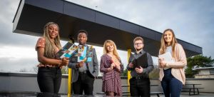 Glory Joseph, Business studies student , Eromonsele Clements, Mechatronic enjineering student, Amy Nannery, Law and Politics student , Ben Clarke, Compueter Applications student and Lauren Heffernan, DCU Mechatronic Engineering student all pictured at the launch of DCU's Access to the Workplace Programme for 2020 in DCU's Glasnevin campus today, where DCU announced plans to double the number of summer work placements on offer to students from disadvantaged backgrounds through the programme to 100 next year. Pic: Marc O'Sullivan